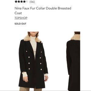 Topshop Faux Fur Collar Double Breasted Coat BNWT
